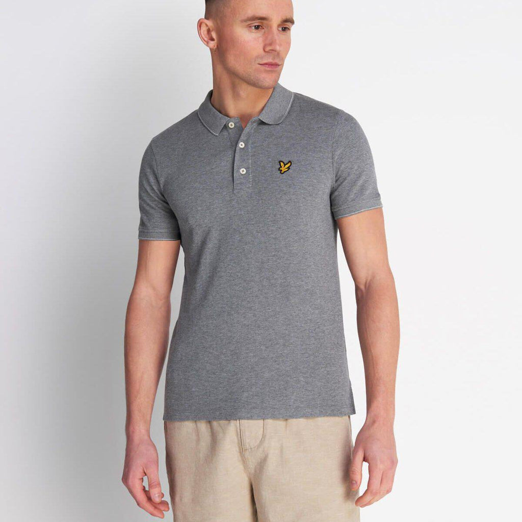 Lyle and Scott Waffle Polo Shirt - Mid Grey Marl