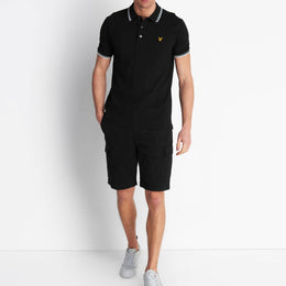 Lyle and Scott Tipped Polo Shirt - Jet Black/White