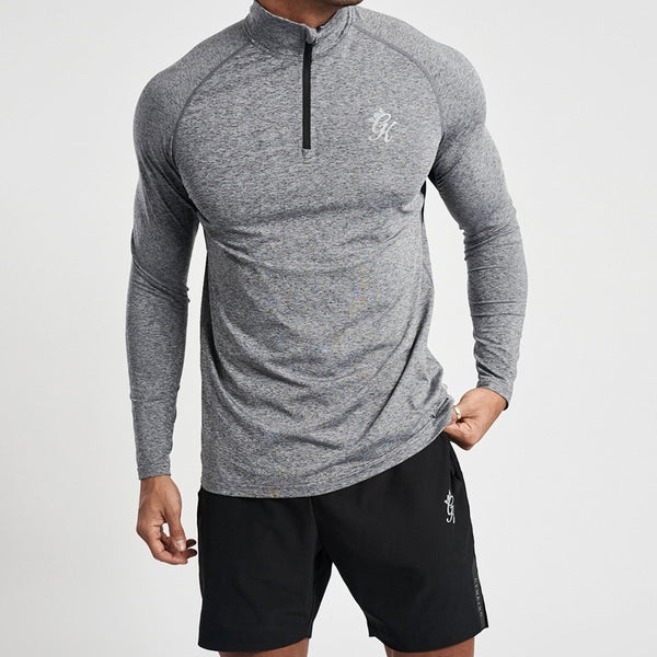 Gym King Sport Race 1/4 Zip Funnel Neck - Grey Marl