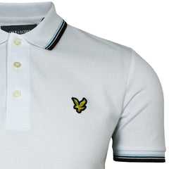 Lyle and Scott Tipped Polo Shirt - White/Burgundy