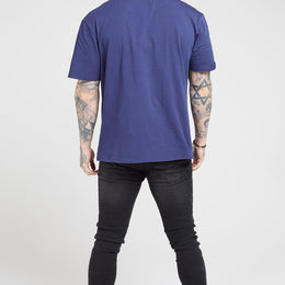 SikSilk S/S Tape Collar Essential T-shirt - Navy