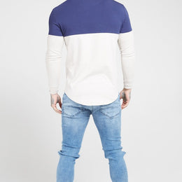 SikSilk L/S Chain Cartel Rib Tape Gym Tee - Navy/Stone