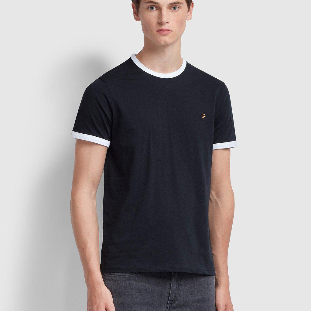 Farah Groves Slim Fit Ringer T-shirt - True Navy
