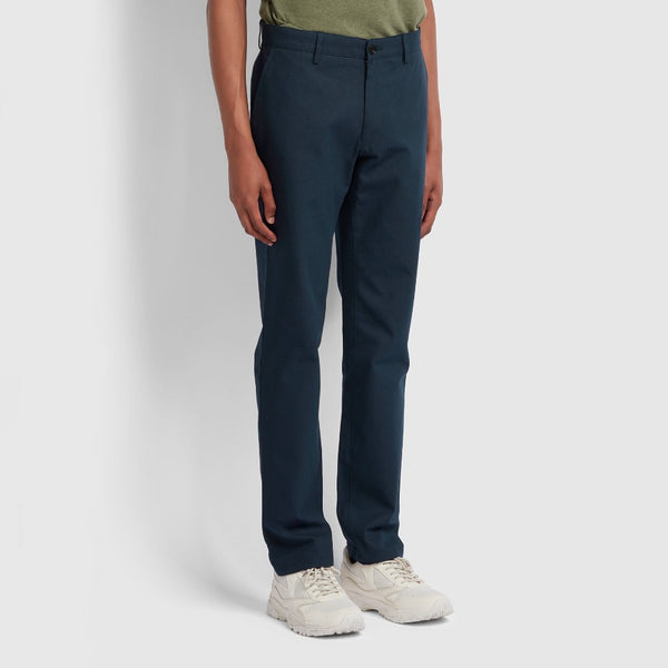 Farah Elm Regular Fit Cotton Hopsack Trousers - True Navy