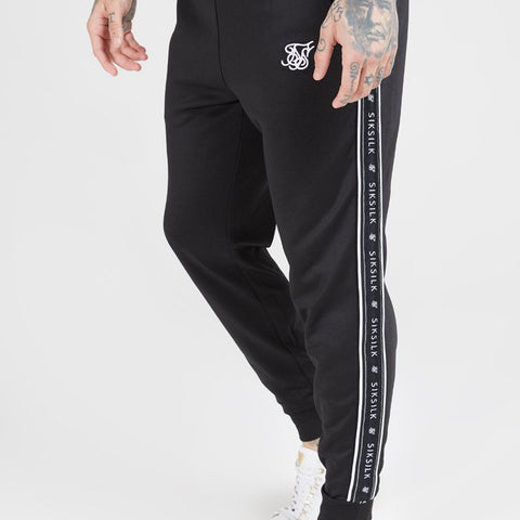 SikSilk Fitted Panel Tape Track Pants – Black