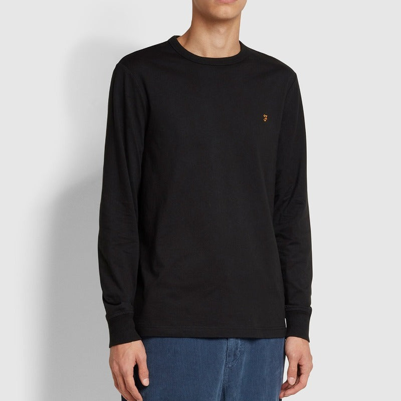 Farah Worthington Slim Fit Long Sleeve Organic Cotton T-Shirt - Black