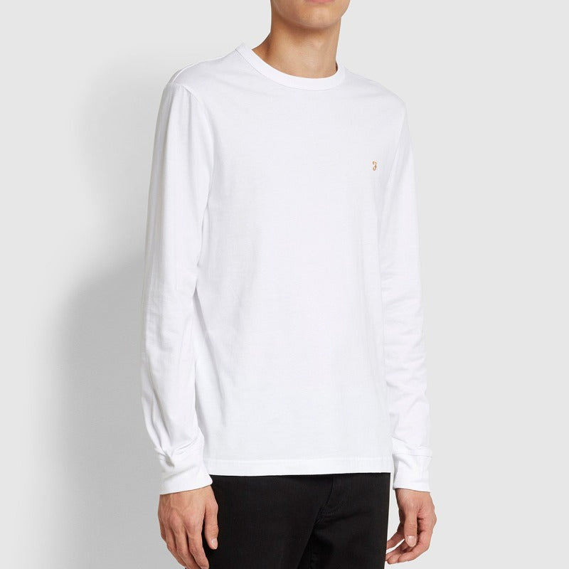 Farah Worthington Slim Fit Long Sleeve Organic Cotton T-Shirt - White