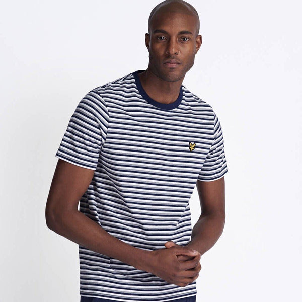 Lyle and Scott Stripe Ringer T-shirt - Navy