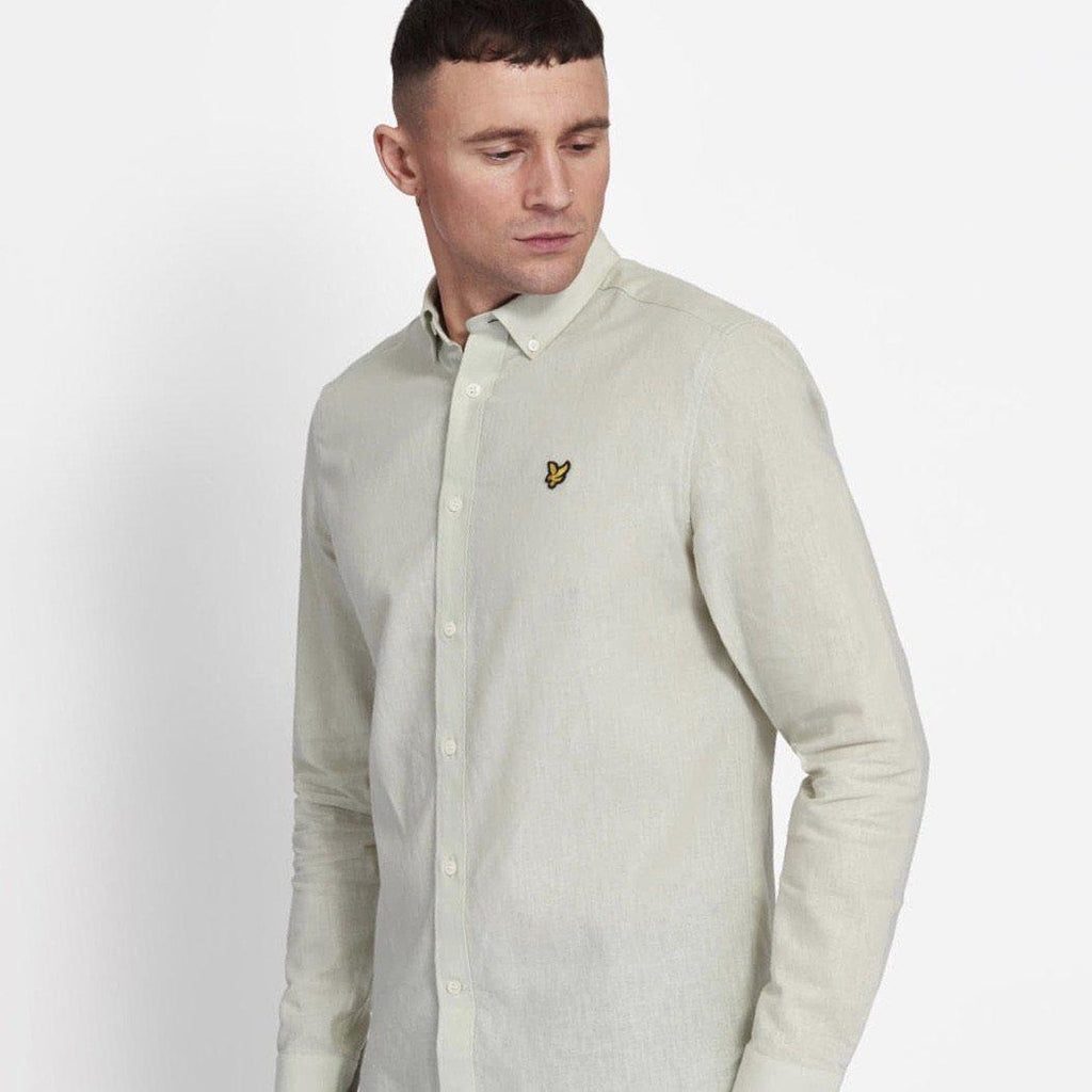 Lyle and Scott Cotton Linen Shirt - Cloudy Mint