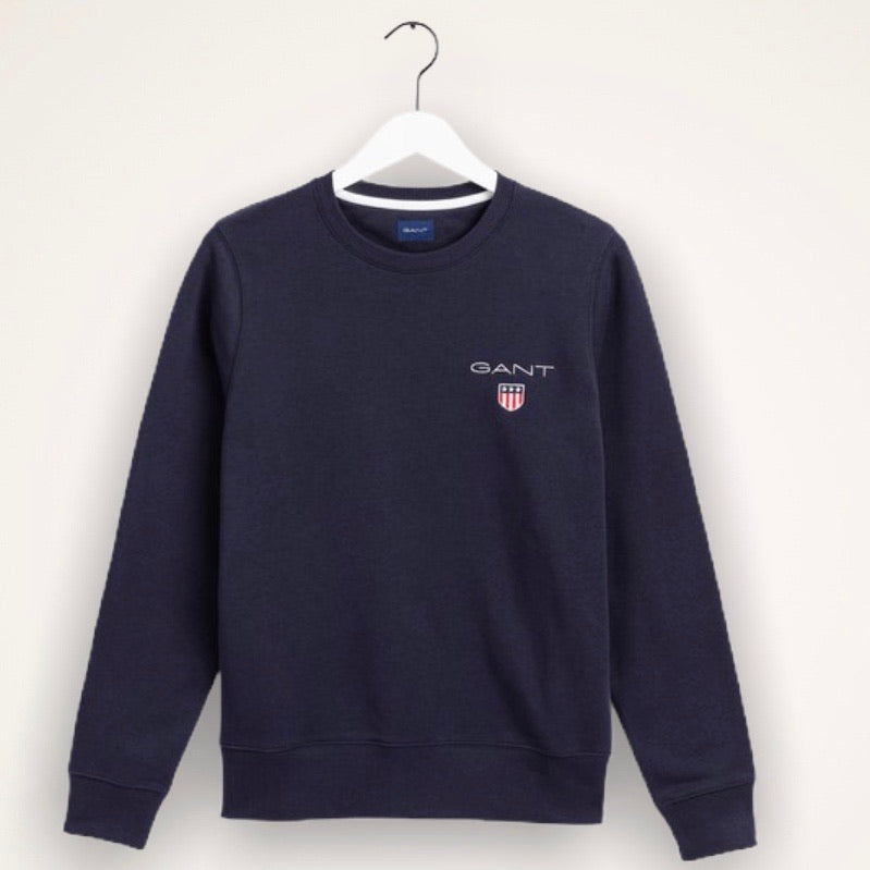 Gant Medium Shield Crew Neck Sweatshirt - Evening Blue