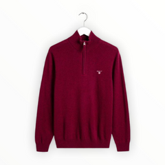 Gant Superfine Lambswool Half Zip - Dark Burgundy