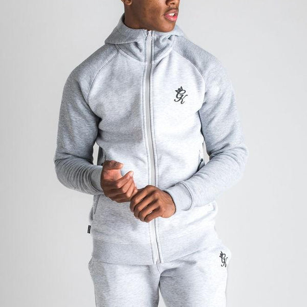 Gym King Basis Contrast Raglan Tracksuit Top - Grey Marl/Snow Marl