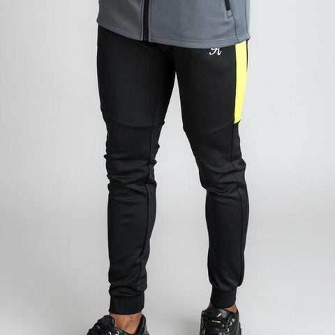 Gym King Lombardi Poly Tracksuit Bottoms - Dark Grey/Black/Neon Yellow