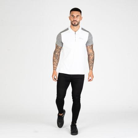 Nimes Panelled Zip Polo Shirt - White