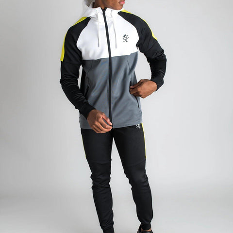 Gym King Lombardi Poly Tracksuit Top - Dark Grey/Black/Neon Yellow
