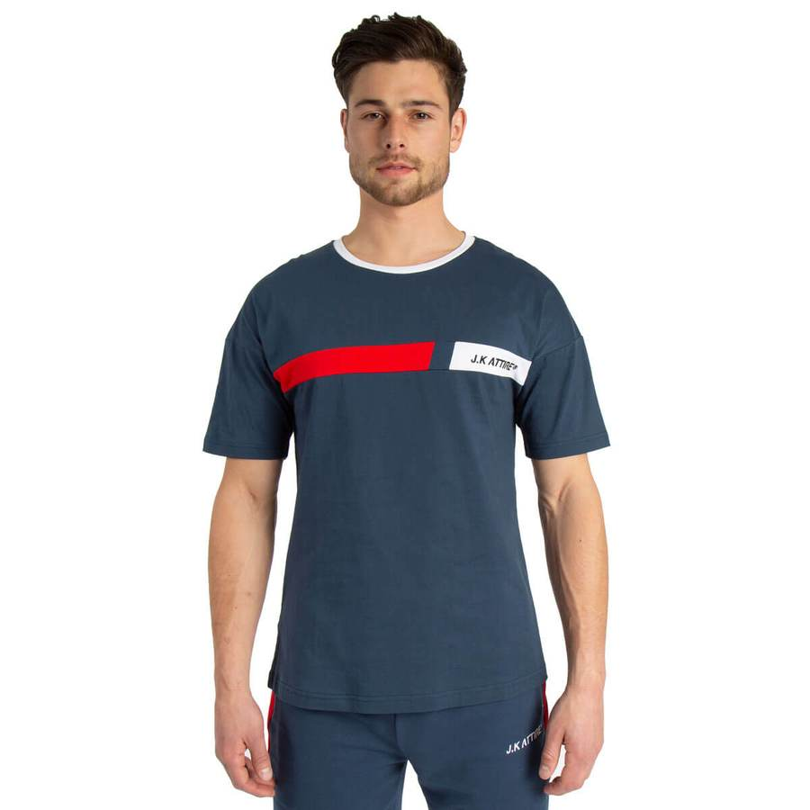 JK Attire Monza Racer Block Tee - Petrol Blue/Red