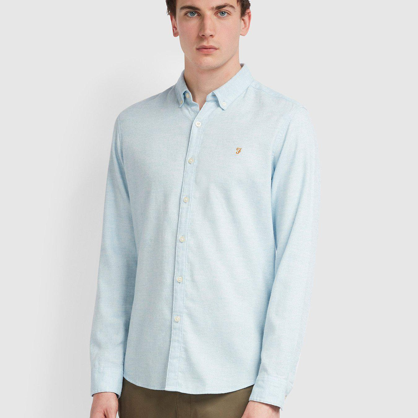 Farah Kreo Slim Fit Brushed Cotton Shirt - Moonstone