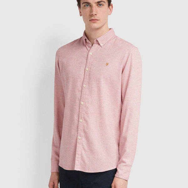 Farah Kreo Slim Fit Brushed Cotton Shirt - Cool Pink