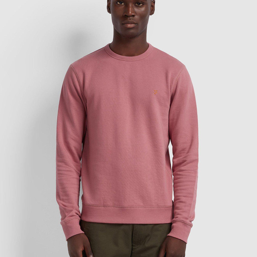 Farah Tim Cotton Crew neck Sweatshirt - Dusty Rose