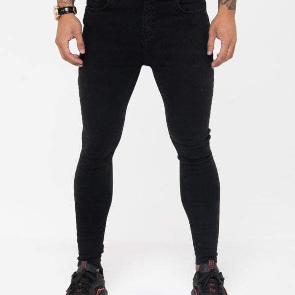 Nimes Super Skinny Spray On Jeans Non Ripped – Black