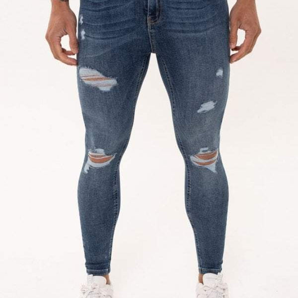 Nimes Super Skinny Spray on Jeans Ripped & Repaired – Dark Blue