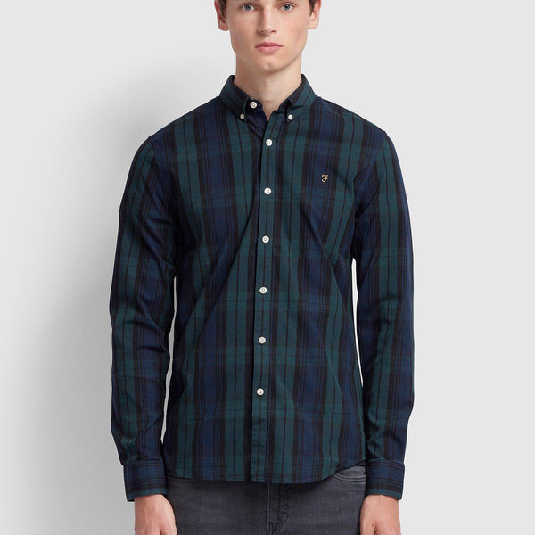 Farah Brewer Slim Fit Tartan Oxford Shirt - Gillespie Green