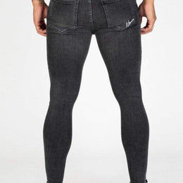 Nimes Super Skinny Spray on Jeans Ripped & Repaired - Dark Grey