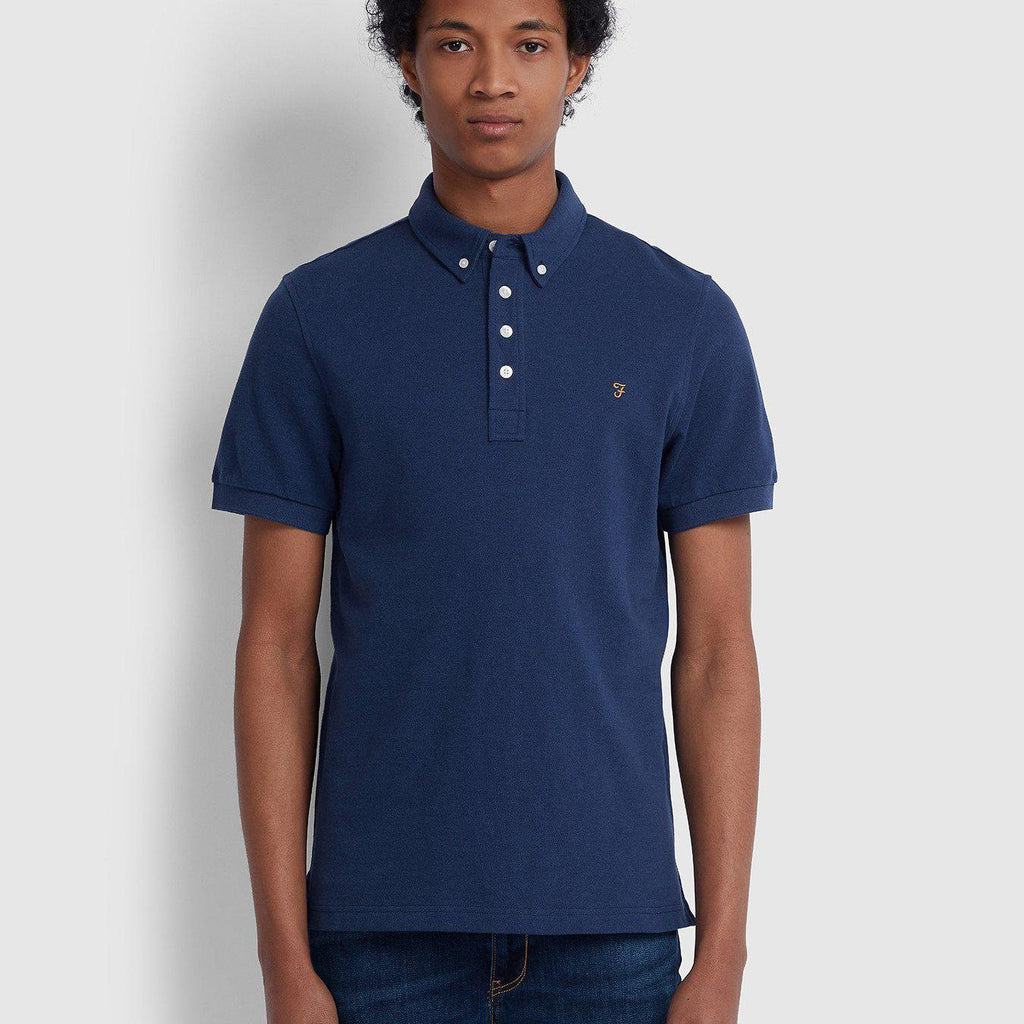 Farah Ricky Slim Fit Polo Shirt - Blue Pony Marl