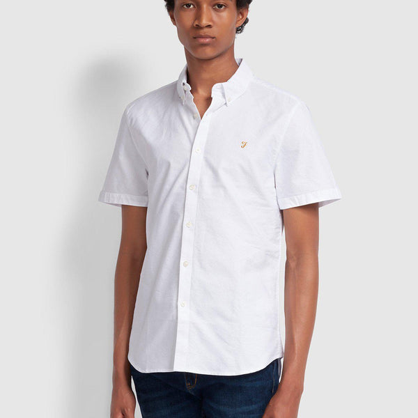 Farah Brewer Slim Fit Short Sleeve Oxford Shirt - White