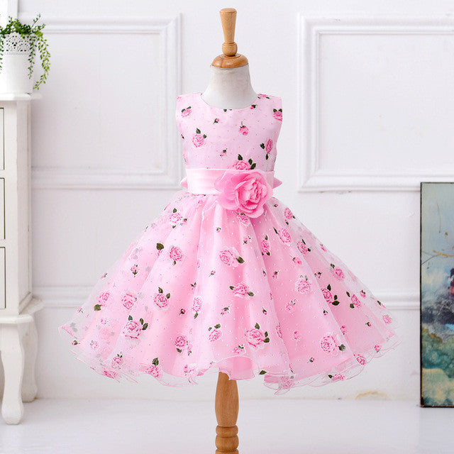 New Style Summer Baby Girl Pink Printing Flower Dress For Wedding Love At First Sight Webstore