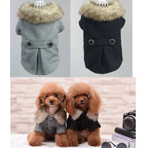 Winter Dog Coat With Fur Trim Smooshfacedoggear
