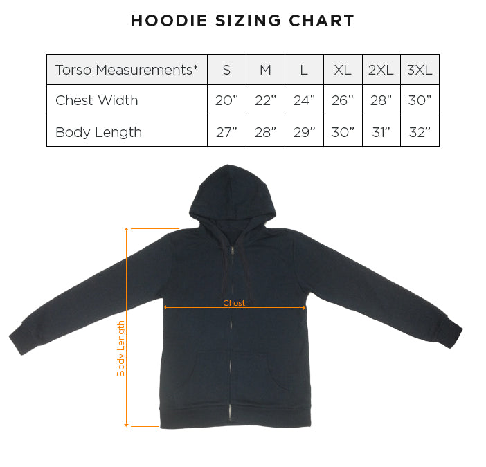 Hoodie unisex size chart