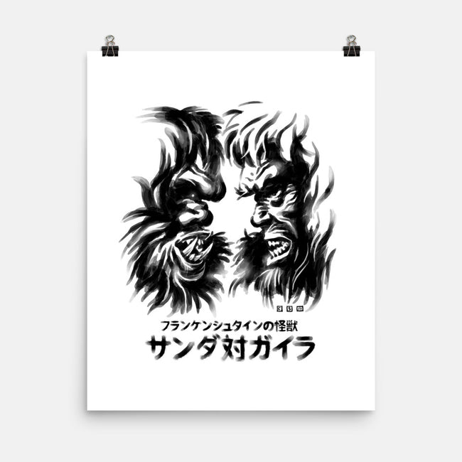 Waterbrushed Battling Giants-none matte poster-cs3ink