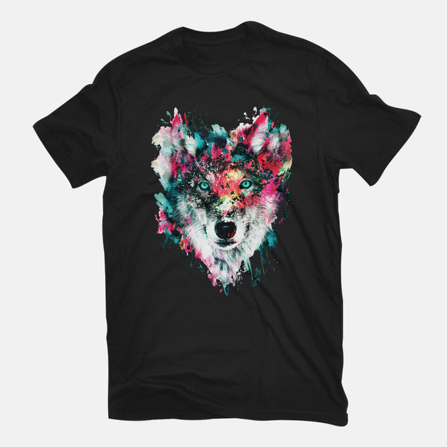 Watercolor Wolf-youth basic tee-RizaPeker