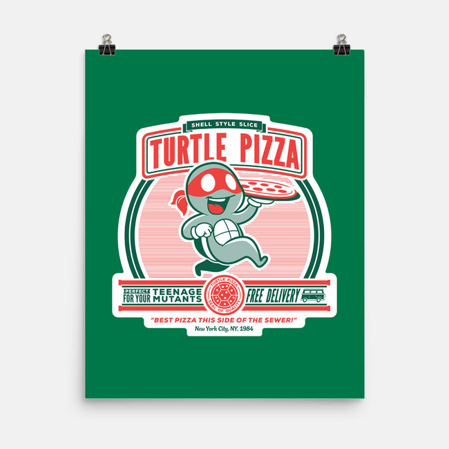 Turtle Pizza-none matte poster-owlhaus