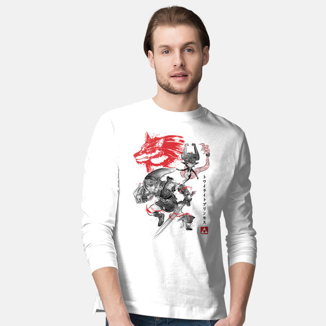 Twilight Wolf Sumi-e-mens long sleeved tee-DrMonekers