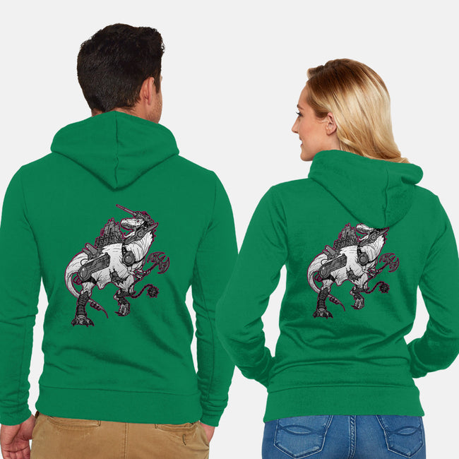 TyrannoZaurus-unisex zip-up sweatshirt-GuitarAtomik
