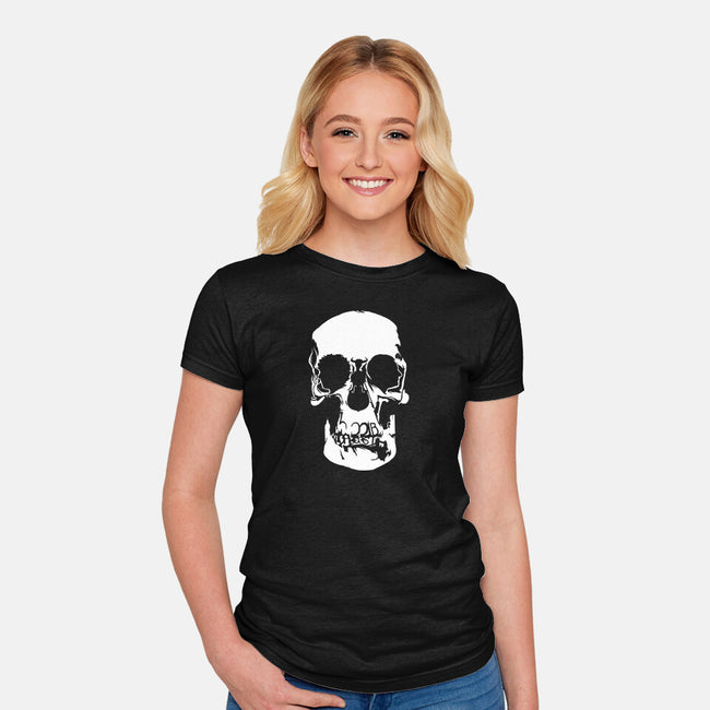 Sherlock: Wall Skull-womens fitted tee-zerobriant