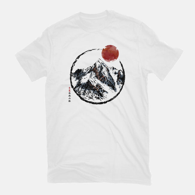 Sunset In The Rocky Mountains-mens basic tee-jun087