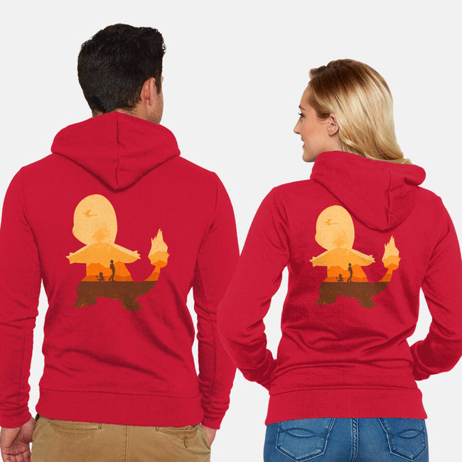 Red Companion-unisex zip-up sweatshirt-Whitebison