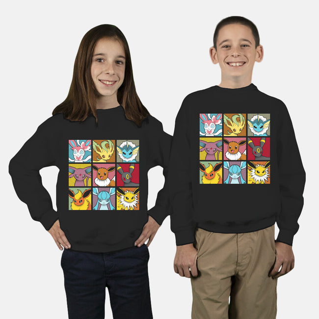 Pop Eeveelutions-youth crew neck sweatshirt-paulagarcia