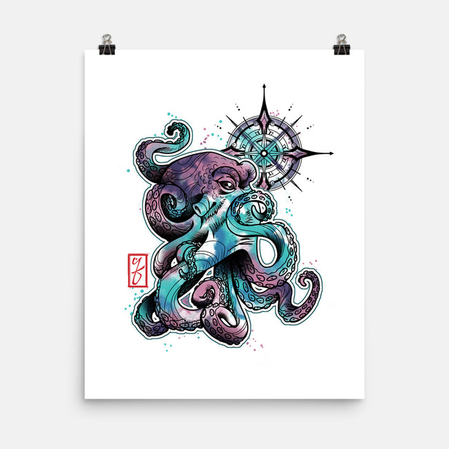 Octopus-none matte poster-etcherSketch