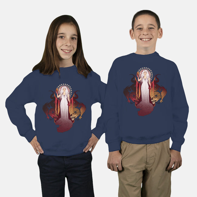 Our Mother of Dragons-youth crew neck sweatshirt-MeganLara