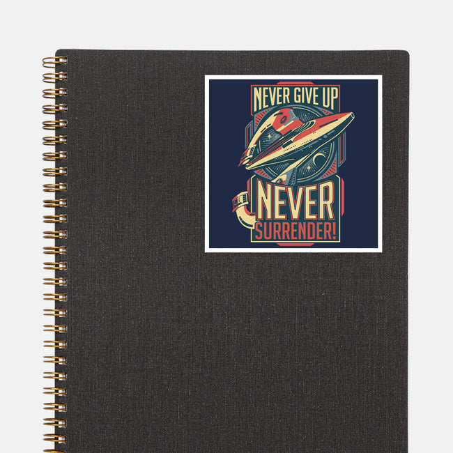 Never Surrender!-none glossy sticker-DeepFriedArt