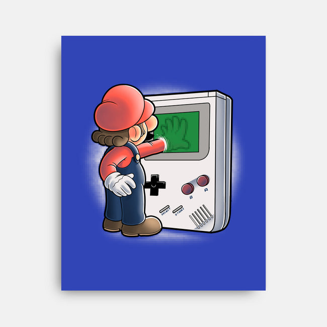 Mario Through the Console-none stretched canvas-trheewood