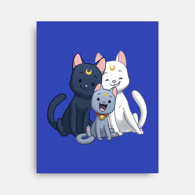 Moon Cat Family-none stretched canvas-DoOomcat