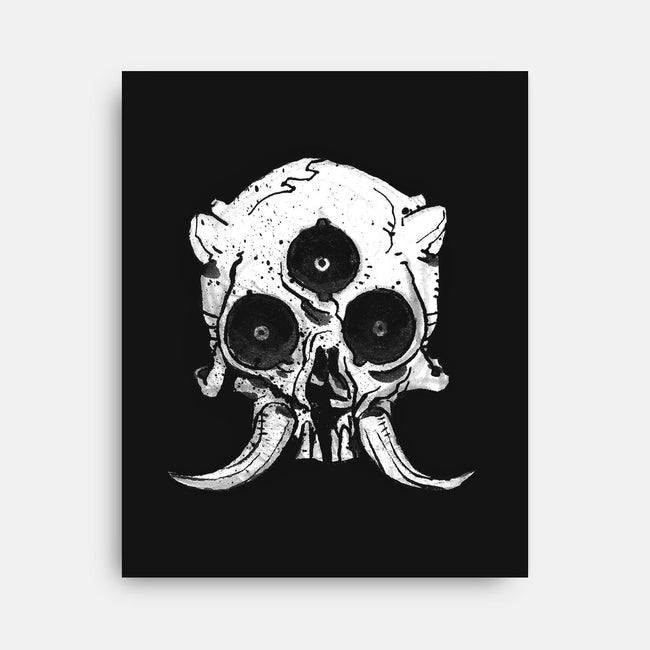 Horned Tusk Skull-none stretched canvas-AustenFM