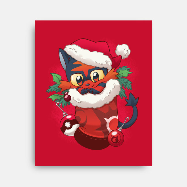 Fire Cat Stocking Stuffer-none stretched canvas-DoOomcat