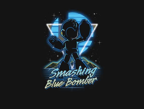 Retro Smashing Blue Bomber