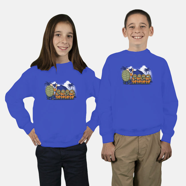 Ninja Kame Kids-youth crew neck sweatshirt-pigboom